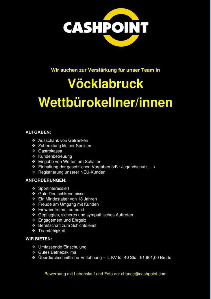 Zur Verstärkung unseres Teams, suchen wir in Vöcklabruck sportinteressierte VOLLZEIT Mitarbeiter