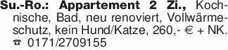 Su.-Ro.: Appartement 2 Zi., Ko...