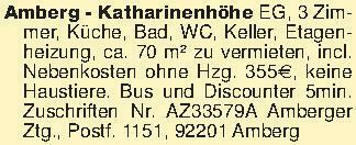 Amberg - Katharinenhöhe EG, 3...