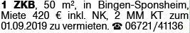 1-Zimmer Mietwohnung in Bingen (55411)