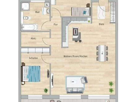 **Baustart bereits erfolgt**Obergeschoss 3 Zimmer mit 22 m² Süd-Balkon!**