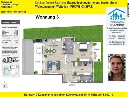 Saulheimer Talblick - KFW55 - 3 Zimmer, 110qm, 2 Terrassen, Aufzug in die TG