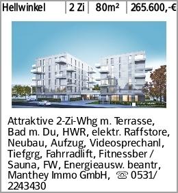 Hellwinkel 2 Zi 80m² 265.600,-€ Attraktive 2-Zi-Whg m. Terrasse, Bad m....