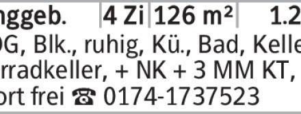 2. OG, Blk., ruhig, Kü., Bad, Keller + Fahrradkeller, + NK + 3 MM KT, ab...