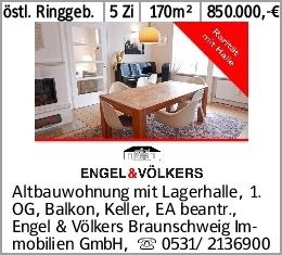 östl. Ringgeb. 5 Zi 170m² 850.000,-€ Altbauwohnung mit Lagerhalle, 1. OG,...