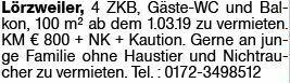 4-Zimmer Mietwohnung in Lörzweiler (55296)