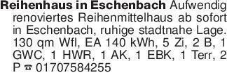 Reihenhaus in Eschenbach Aufwe...