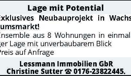 Lage mit Potential – Exklusives Neubauprojekt in Wachstumsmarkt!