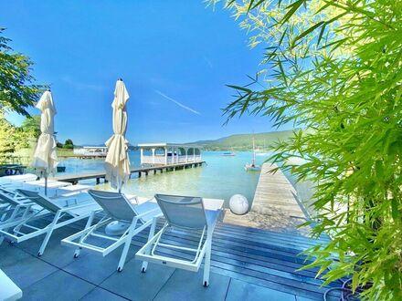 Velden am Wörthersee - Auen: Luxus - Seeblickmietwohnung mit Pool, Seezugang & TG-Platz mit Starkstromanschluss für das…