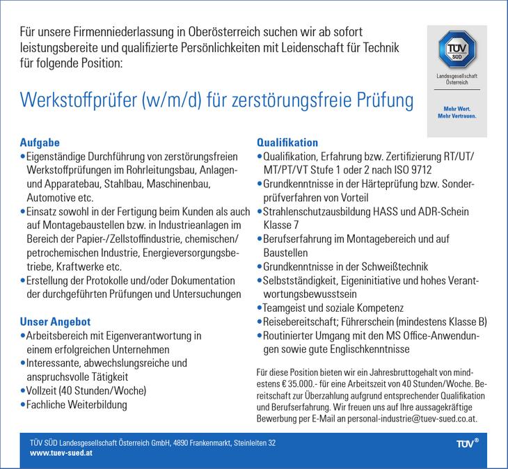 Für unsere Firmenniederlassung in Oberösterreich suchen wir ab sofort leistungsbereite und qualifizierte Persönlichkeiten mit Leidenschaft für Technik für folgende Position: