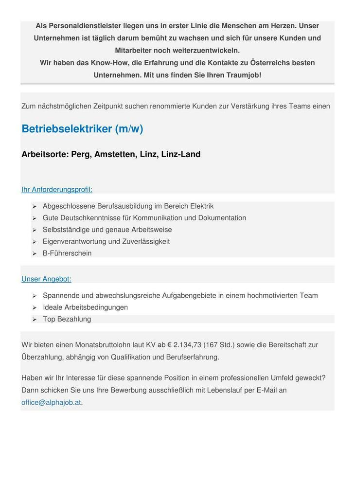 Betriebselektriker (m/w) Arbeitsorte: Perg, Amstetten, Linz, Linz-Land