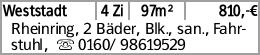 Weststadt 4 Zi 97m² 810,-€ Rheinring, 2 Bäder, Blk., san., Fahrstuhl, ...