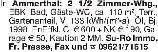In Ammerthal: 2 1/2 Zimmer-Whg...