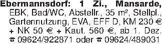 Ebermannsdorf: 1 Zi., Mansarde...
