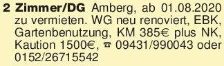 2 Zimmer/DG Amberg, ab 01.08.2...