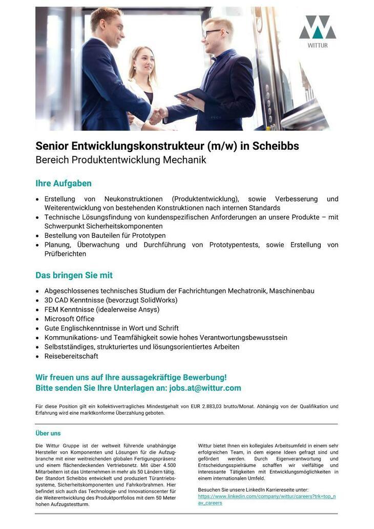 Hoch hinaus mit Wittur! Für unseren Standort in Scheibbs suchen wir eine/n motivierte/n Senior Entwicklungskontstrukteur. Wir freuen uns auf Ihre aussagekräftige Bewerbung!