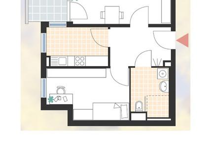 Moderne, helle 2-Zimmer Seniorenwohnung ab 60+
