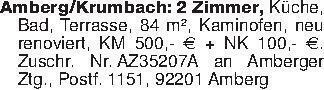Amberg/Krumbach: 2 Zimmer, Küc...