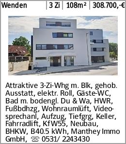 Wenden 3 Zi 108m² 308.700,-€ Attraktive 3-Zi-Whg m. Blk, gehob. Ausstatt,...