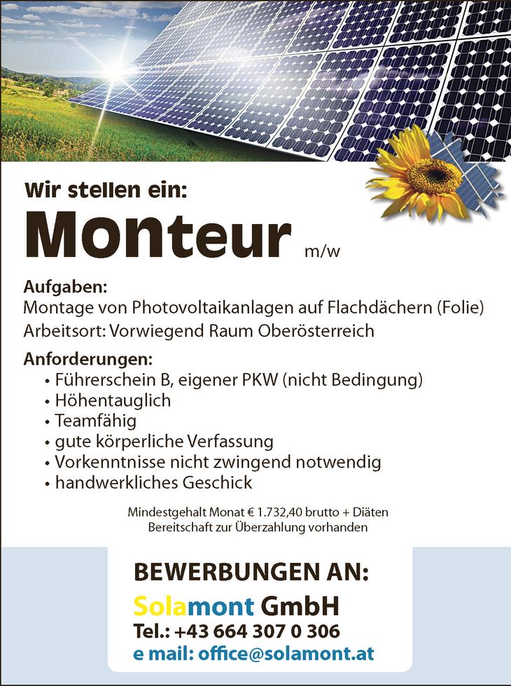 Aufgaben: Montage von Photovoltaikanlagen auf Flachdächern (Folie) Arbeitsort: Vorwiegend Raum Oberösterreich