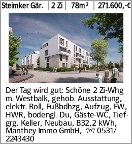 Steimker Gär. 2 Zi 78m² 271.600,-€ Der Tag wird gut: Schöne 2 Zi-Whg m....