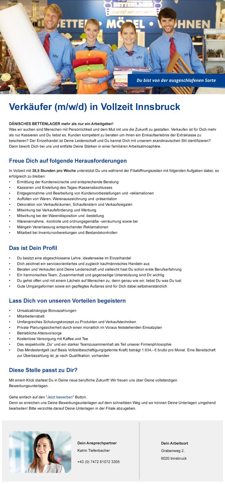 Verkaufen ist Deine Leidenschaft? Wir freuen uns auf Dich als neue/n Kollegen/in in unserer Filiale in Innsbruck!