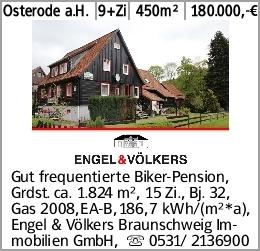 Osterode a.H. 9+Zi 450m² 180.000,-€ Gut frequentierte Biker-Pension, Grdst....