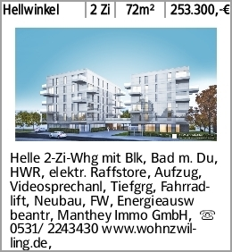 Hellwinkel 2 Zi 72m² 253.300,-€ Helle 2-Zi-Whg mit Blk, Bad m. Du, HWR,...