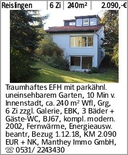 Reislingen 6 Zi 240m² 2.090,-€ Traumhaftes EFH mit parkähnl. uneinsehbarem...