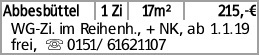 Abbesbüttel 1 Zi 17m² 215,-€ WG-Zi. im Reihenh., + NK, ab 1.1.19 frei,...