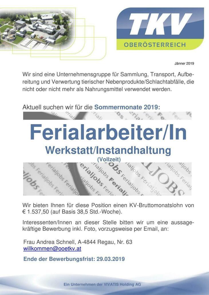 Ferial, Werkstatt, Betrieb, Instandhaltung, HTL, Praktikum, Helfer, Hilfskraft, Ferialjob, Praktikant