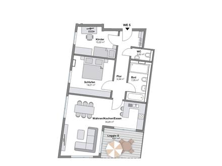 Neubau einer großen 3 ZKB Wohnung mit Loggia
