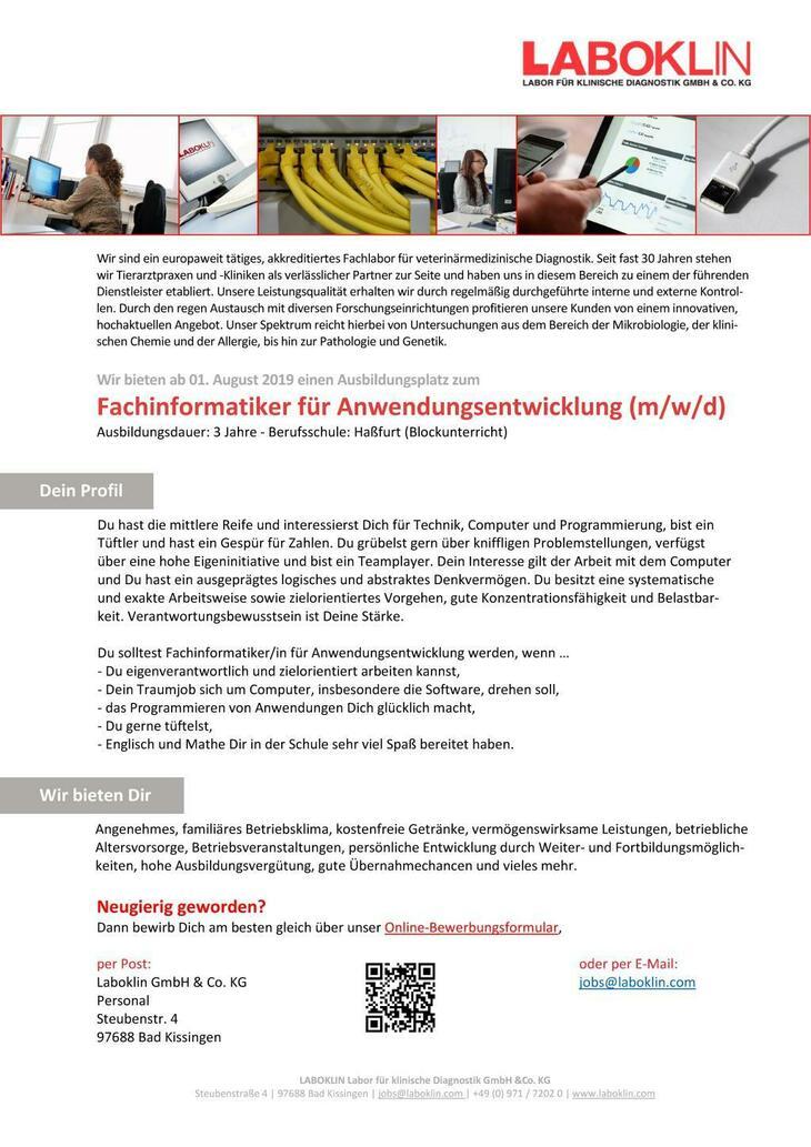 Lust auf eine spannende Ausbildung? Ab 01.08.2019 bieten wir am Standort Bad Kissingen einen Ausbildungsplatz zum Fachinformatiker für Anwendungsentwicklung (m/w/d).