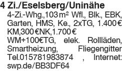 4 Zi./Eselsberg/Uninähe