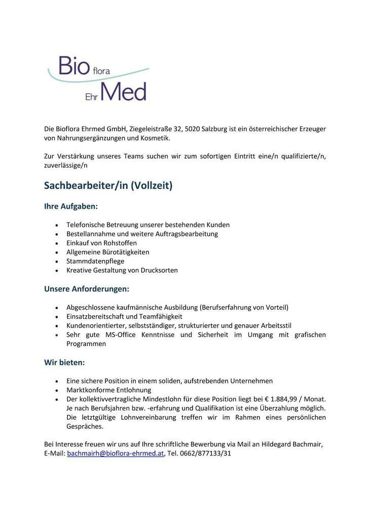 Die Bioflora Ehrmed GmbH, Ziegeleistraße 32, 5020 Salzburg ist ein österreichischer Erzeuger von Nahrungsergänzungen und Kosmetik