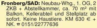 Fronberg/SAD: Neubau-Whg., 1....