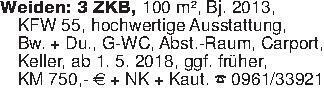 Weiden: 3 ZKB, 100 m², Bj. 20...