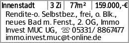 Innenstadt 3 Zi 77m² 159.000,-€ Rendite-o. Selbstbez., frei, o. Blk., neues...