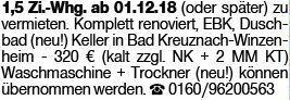 1-Zimmer Mietwohnung in Winzenheim (55545)