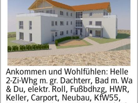 Ankommen und Wohlfühlen: Helle 2-Zi-Whg m. gr. Dachterr, Bad m. Wa & Du,...