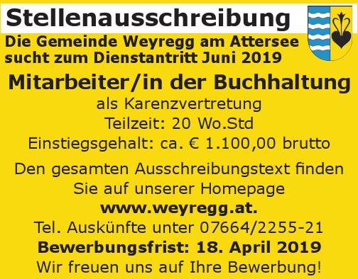 Die Gemeinde Weyregg am Attersee sucht zum Dienstantritt Juni 2019