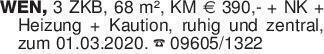 WEN, 3 ZKB, 68 m², KM Euro 390...