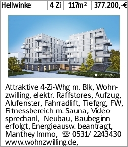 Hellwinkel 4 Zi 117m² 377.200,-€ Attraktive 4-Zi-Whg m. Blk, Wohnzwilling,...