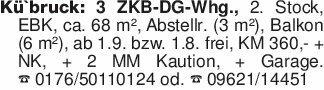 Kü`bruck: 3 ZKB-DG-Whg., 2. St...