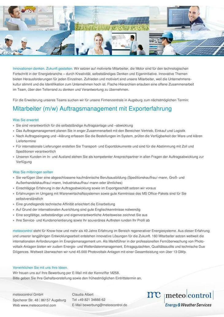 Die meteocontrol GmbH bietet seit mehr als 40 Jahren innovative Produkte und Dienstleistungen im Bereich der erneuerbaren Energien. Ihre Zukunft beginnt hier...