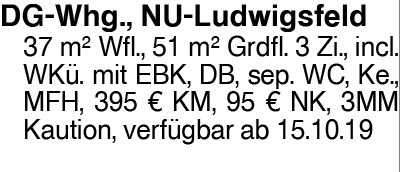 3-Zi. DG-Wohnung in NU-Ludwigsfeld