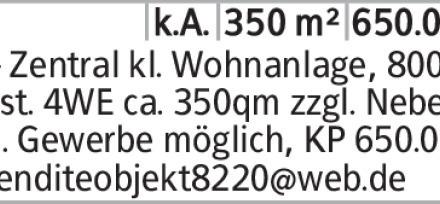 SZ - Zentral kl. Wohnanlage, 800qm Grdst. 4WE ca. 350qm zzgl. Nebengeb....