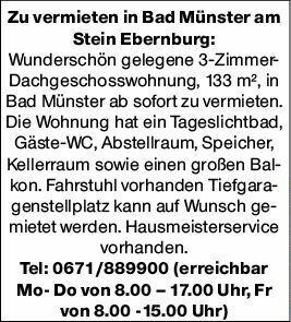 3-Zimmer Mietwohnung in Bad Münster a. Stein (55583)
