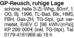 GP Reusch, ruhige und sonnige Lage