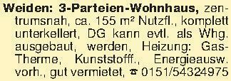Weiden: 3-Parteien-Wohnhaus, z...